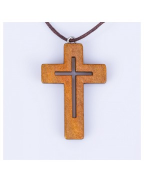 Naszyjnik krzyżyk - drewno...