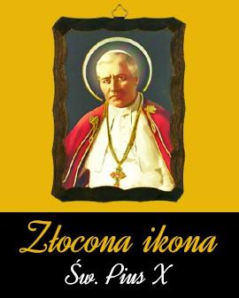 Złocona ikona Św. Pius X
